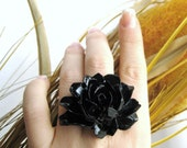 Custom Color Extra Large Ring - Large Flower Ring - Black Statement Ring
