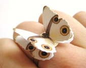 Origami Jewelry White Butterfly Ivory Cream Brown Paper Ring - SpotLightJewelry