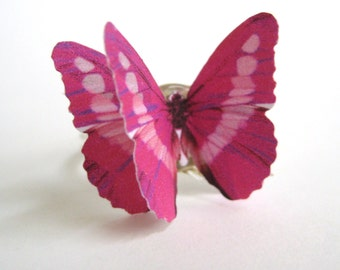 Fuchsia Jewelry - Hot Pink Ring - Hot Pink Jewelry - Girly Fuschia Pink Butterfly Ring
