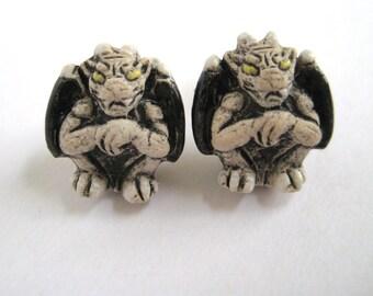 Goth Earrings - Miniature Gargoyle Statue - Medieval Jewelry - Gothic Earrings - Weird Stud Earrings