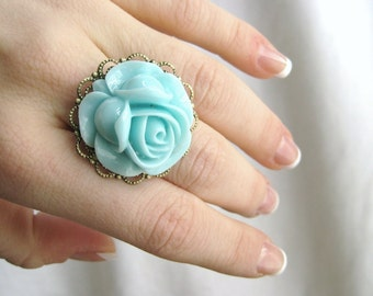 Sky Blue Ring - Light Blue Cabochon Jewelry Blue Rose Ring Adjustable Flower Ring