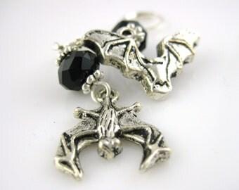Crystal Glass Bat Earrings - Silver Bat Jewelry Halloween Jewelry Vampire Bat Goth Black