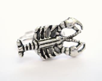 Silver Lobster Jewelry - Rock Lobster Ocean Ring Lobster Ring