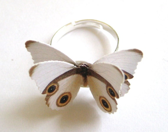 Paper Ring - Recycled Jewelry - White Ring - Neutral Jewelry - Butterfly Brown Cream Adjustable