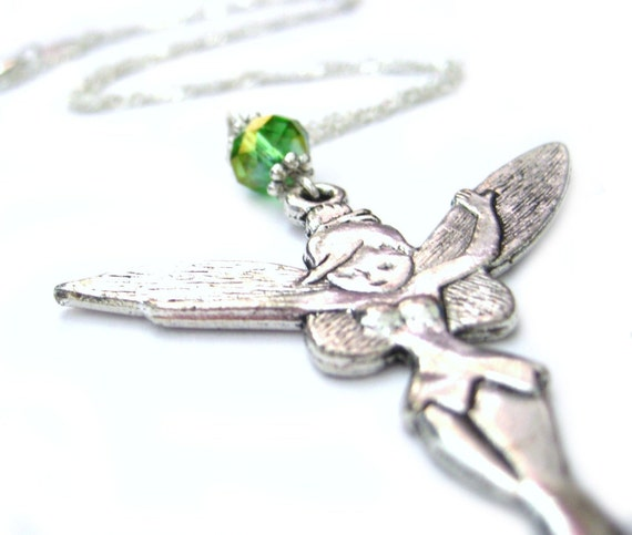 Tinkerbell Necklace Sterling Silver Disney Princess Jewelry Pendant Custom Color Crystals