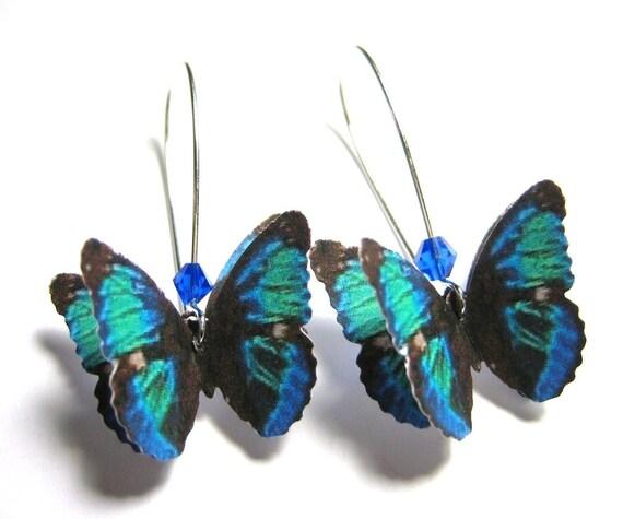 Dark Blue Dangle Earrings - Sapphire Blue Drop Earrings - Long Loop Earrings - Butterfly Jewlery - Butterfly Gifts - Royal Blue Earrings