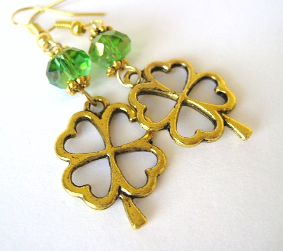 Custom Crystal Gold Clover Earrings - Four Leaf Clover Earrings - Four Leaf Clover Jewelry - Celtic Irish Jewelry - St Patricks Day Earrings