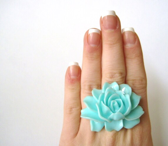 Large Ring Flower Cabochon Ring Light Blue Sky Aqua Fashion Jewelry
