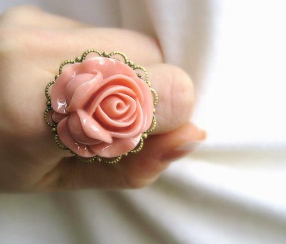 Blush Pink Rose Ring - Fairy Kei - Pastel Goth Jewelry - Sweet Lolita - Spring Ring - Large Rose Ring - Pink Rose Jewelry - Floral Ring