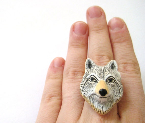 White Wolf Ring - Big Bad Wolf Jewelry Wolf Totem Wolf Spirit
