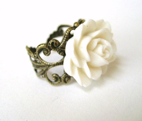White Rose Ring Romantic Ring Vintage Filigree Ring Wedding Jewelry Bridesmaid Gift