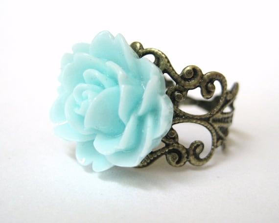 Jewelry Aquamarine Ring Light Blue Rose Ring Antiqued Brass Filigree Adjustable Ring