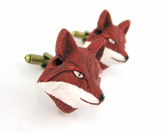 Fox Cufflinks - Woodland Wedding - Red Fox Cuff Links - Woodland Animals Cufflinks - Men Cuff Links