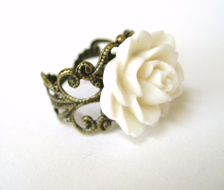 white ring ring vintage filigree ring wedding