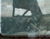 """Chevy Truck interior Art - Old Farm Truck Steering Wheel - """"Visions From Her Past"""" Dusty Teal Chevy Window - Photographic Print"""