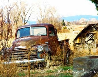 Golden Brown Vintage Chevy Truck art Print - Headed for the Ditch Old Brown Chevrolet fine art giclee photograph Panorama 8x16 Print