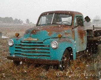 Man Cave Art Winter Truck Art - Snowy Winter Storm Old Farm Truck Rusty Red Turquoise Chevy Vintage - 8x12 Fine Art Giclee Photography Print
