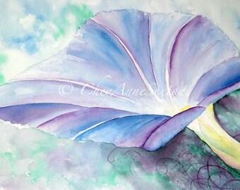 Morning Glory flower art - Purple blue Fine Art ORIGINAL watercolor - Home Interior Decor  22x15