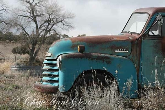 Vintage Blue Chevy Pickup photo card