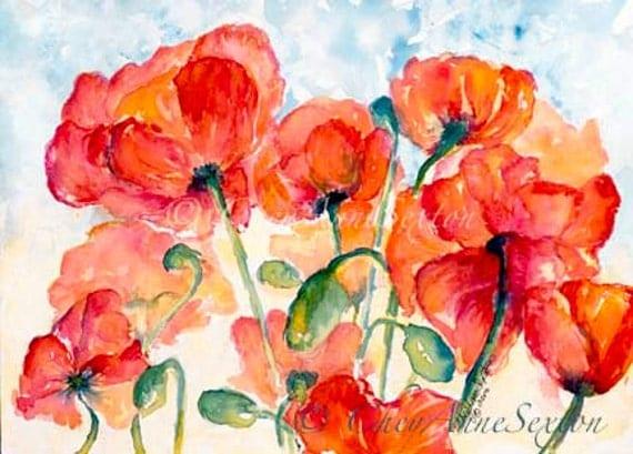 Salmon Orange Poppy Field Watercolour ArtCard