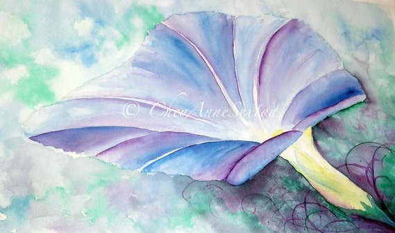 Morning Glory flower art - Purple blue Fine Art ORIGINAL watercolor - Home Interior Decor  22x15