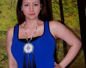 Native American blue beaded necklace - SALE
