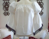 White Cotton Bell Sleeved Renaissance Chemise Shirt With Black Lace Trim