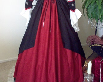 Pirate Skirt With Black Cotton Overlay Plus Sizes Available