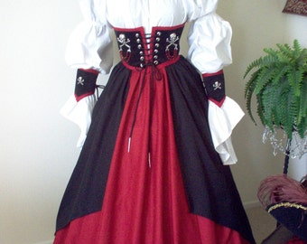 Pirate Waist Cincher And Skirt Costume Can Be Made In Any Size
