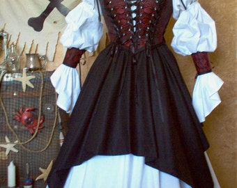 Red and Black Skulls Pirate Renaissance Steampunk Costume. Different Fabrics Available For The Bodice.