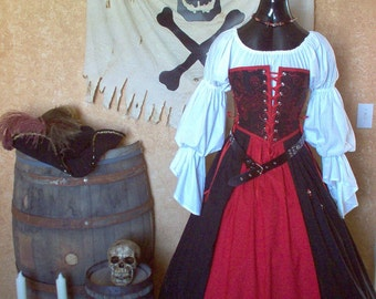 Pirate Renaissance Steampunk Strapless Bodice Costume. Different Fabrics Available for Bodice.