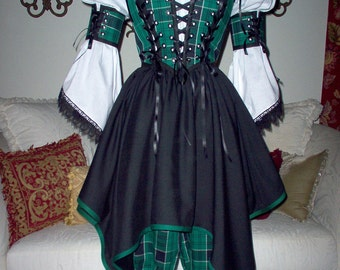 Plaid Pirate Renaissance Steampunk Costume. Different Fabrics Available For The Bodice, Armbands, Bloomers, and Skirt.