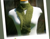 SALE!!! Hand Knit Scarf - Mossy Green Mohair Skinny Long Scarf
