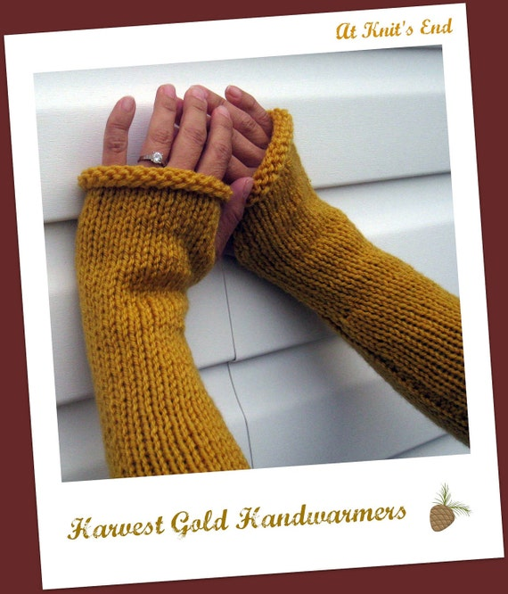 FREE SHIPPING - Hand Knit Fingerless Gloves - Harvest Gold Handwarmers