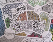 Life Wishes Zentangle Pen and Ink Drawing, Unmatted (9x12 inches), New Year's Resolutions