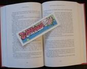 Handmade Pen & Ink Artwork, One of a Kind Bookmark, Pink, Green, Blue Watermelon Bubble Gum, Fun, Nostalgic