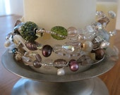 Beaded Memory Wire Bracelet, multicolor, Crystal, Pearl & Sterling Silver Embellishments