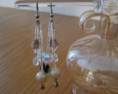 Handmade Long Earrings with Pearl Finished Glass Beads,  Sterling Silver teardrop embellishments and Czech AB Faceted Beads