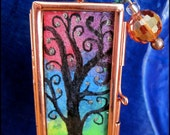 One Of A Kind Original Copper Double Sided Glass Locket, Tree Of Life Painting Czech Glass Beaded Embellishment