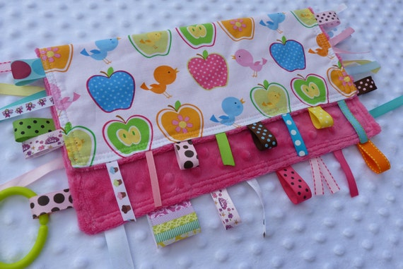 Personalized Tag Blanket- RIBBY LEARNING LOVEY - Apples and Birds on Pink Ribbon Blanket- Large Size- Personalized Name Included