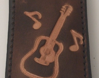 Handmade Leather Money Clip stamped with Guitar