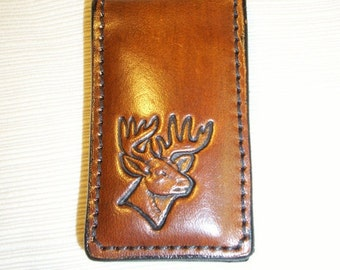 Leather Money Clip Stamped with Deer Head