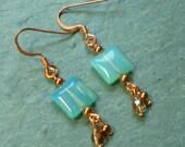 Aqua Blue Bead and Copper Earrings