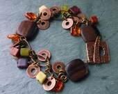 Bracelet - Copper, Wood, Glass and Stone Beads