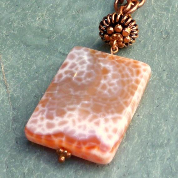 SALE - Pendant Necklace - Large Fire Agate Pendant on Copper Chain