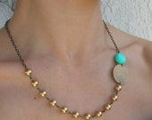 Bohemia - Swarovski gold pearls, genuine turquoise, raw brass and chain