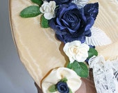 Victorian Theater Bonnet - Yellow and Navy