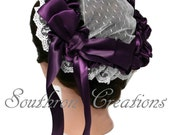 Victorian Lace Headdress - Purple and White