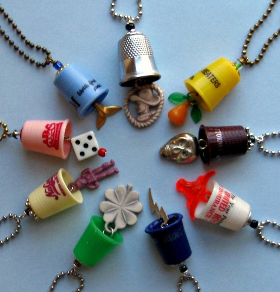 Design Your Own Thimblism Necklace - Upcycled Thimble and Charm Pendant on a Chain of Your Choice