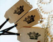 Gift Tags/Set of 5/Large Crown / FREE U.S. SHIPPING/ Black Beauty